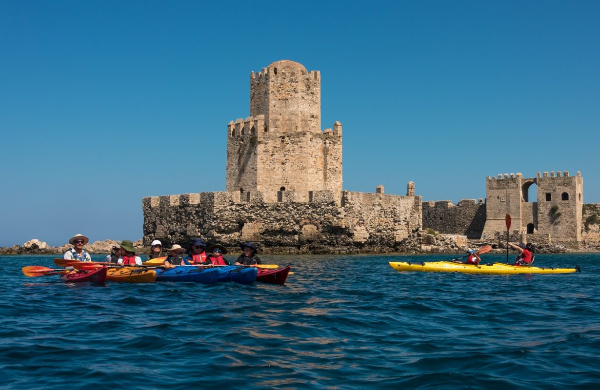castle sea kayak Methoni kids