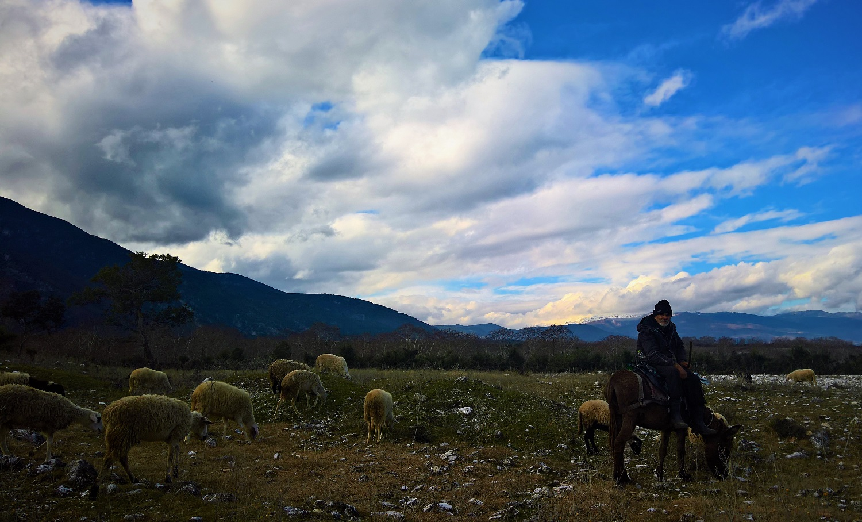Olymbos mountain Greece kids shepherd