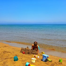 Corfu island with kids Greece beaches babies