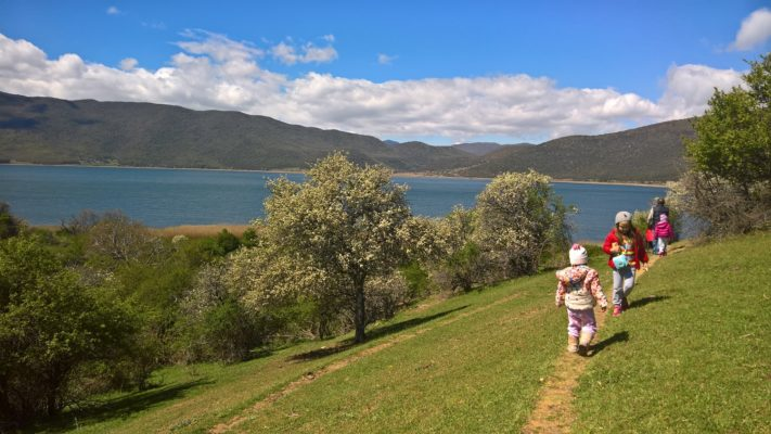 kids Greece bird watching lake prespa