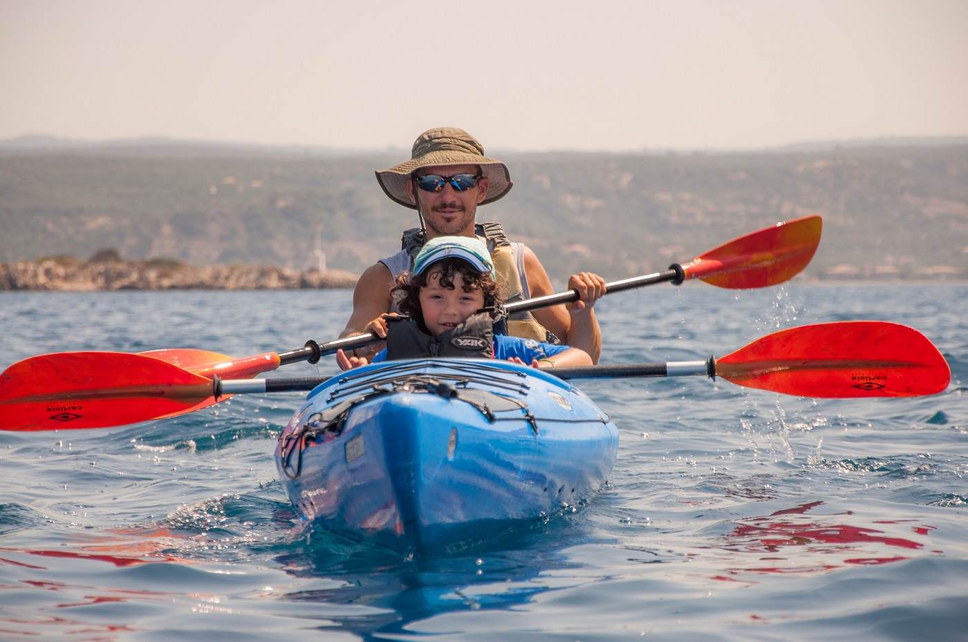 kids Greece beach sea kayak