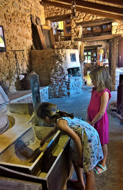 kids Greece olive oil watermill