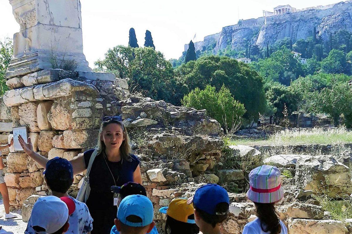 tour guide kids Greece ancient agora