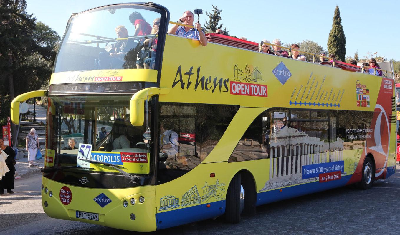 athens open tour bus kids family
