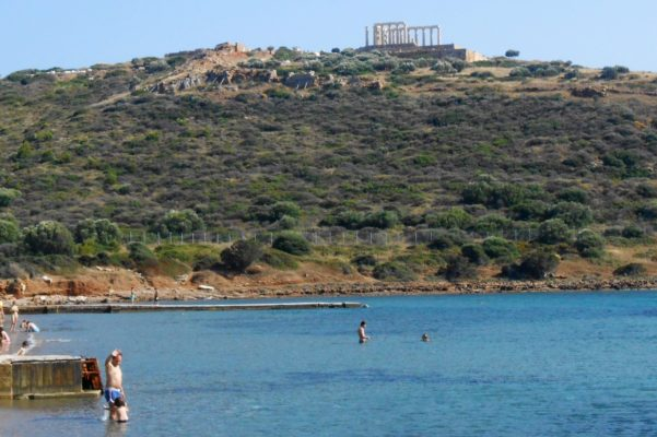 sounio beach kids Greece