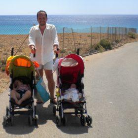 dad babies summer greece