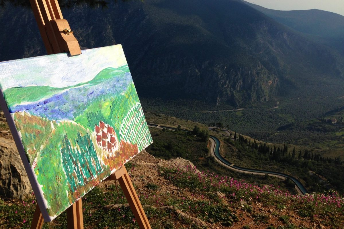 delphi painting in nature with kids