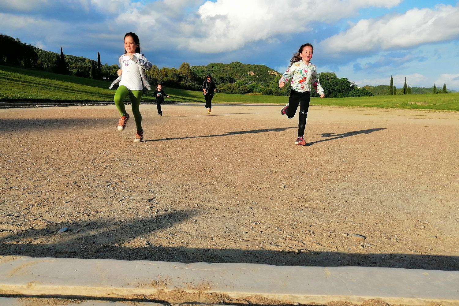 ancient olympia stadium kids run