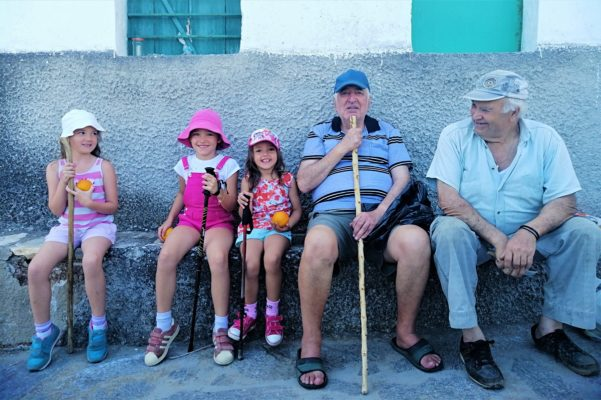 kids and oldies naxos hikers locals