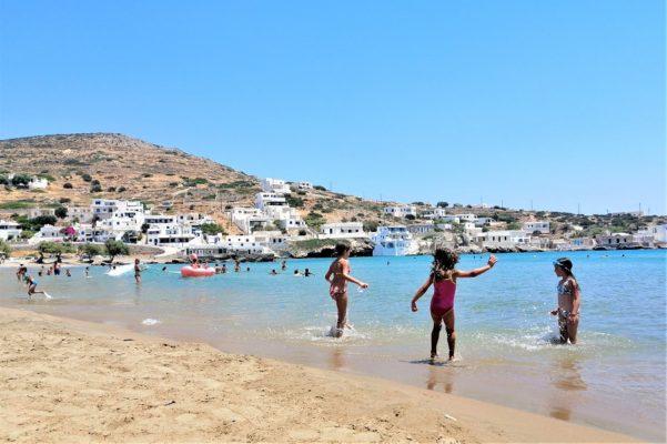 sikinos beach kids greek islands