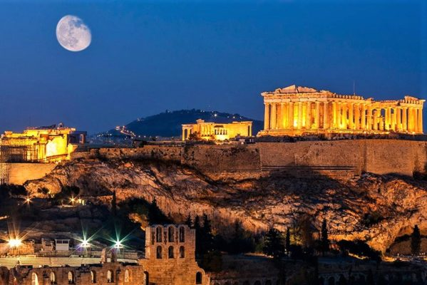 athens by night acropolis
