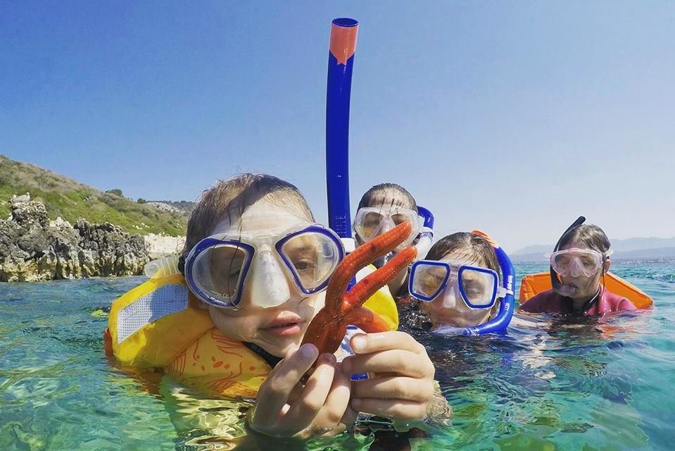 snorkeling kids messenia