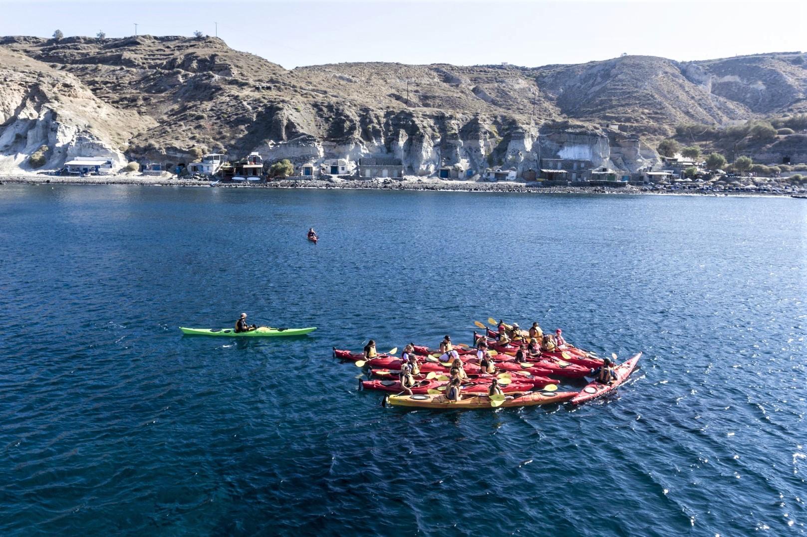 sea kayak santorini with kids