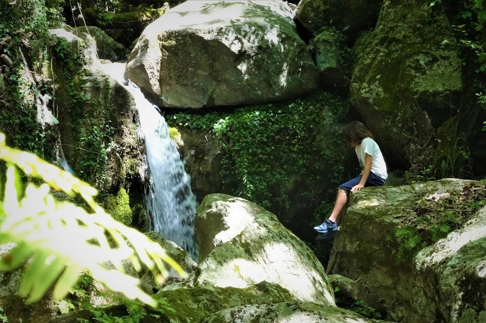 waterfall nature kids pelion