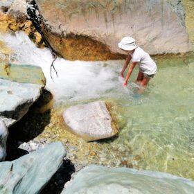 waterfall kids river trekking