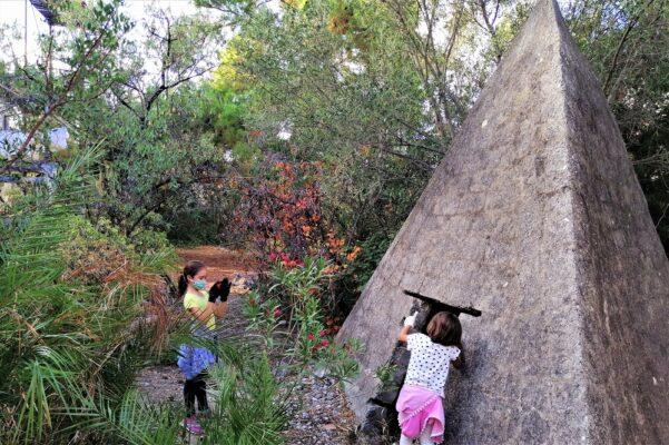 kids exploring pyramids